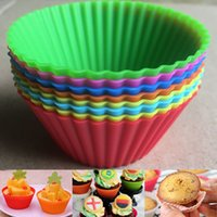 ingrosso caso della torta della tazza del silicone-Silicone Muffin Cake Cupcake Cup Mould Case Bakeware Maker Mold Vassoio di cottura fai da te tondo torta di cottura tazze WX9-177