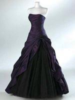 vestido plissado preto do assoalho venda por atacado-Vestidos de casamento roxo escuro e preto com cascade saia sem mangas plissado querida decote até o chão espartilho vestidos de noiva
