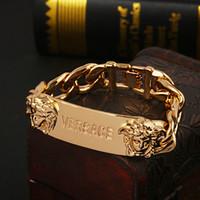 18 k altın zincir stilleri toptan satış-Yeni stil manşet hiphop Altın Medusa kafa Bileklik zincir tasarımı ile erkekler için Logo açık pulsera bilezik oymak için Güzel takı