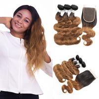 auburn ombre weben großhandel-Farbige peruanische Jungfrau-Haar T1B30 Auburn Brown Haarverlängerungen Körperwelle Ombre Menschenhaar-Webart 3/4 Bündel mit Spitze-Schließung