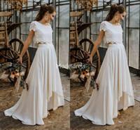 Wholesale modern two piece wedding dresses for sale - Group buy Bohemain Two Pieces Lace Wedding Dresses Scoop Neck High Low Sweep Train Vintage Beach Bridal Gowns Elegant Country Garden Vestidoe De Noiva