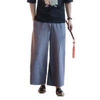 ingrosso pantaloni casual del cotone della biancheria del mens-2018 Uomini Cotone Lino pantaloni a gamba larga giapponese Harajuku Kimono maschio casuale i pantaloni allentati Gonna Pant mens Joggers Harem