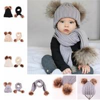 a cuadros de piel al por mayor-Cute Kids Knit Hat Scarf Set Baby Pompon Winter Warm Hat Soft Infant Scarf Fashion Fur Ball Gorros Gorras LJJT1437
