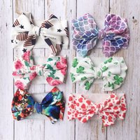 Wholesale mermaid fashion accessories resale online - Baby Girls th of July Headband Mermaid Floral Hair Accessories fashion Kids Flower print Hair Bow American Flag Hair Band colors C6712