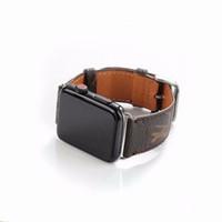 watchband apple watch venda por atacado-Top pulseiras de couro de luxo para a apple watch band 42mm 38mm 40mm 44mm iwatch 1 2 3 bandas pulseira de couro esportes pulseira nova moda listras