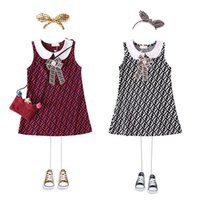 Wholesale luxury kids princess dresses for sale - Group buy FF Girls Princess Sleeveless Doll Lapel Dresses Full Letters Kids Designer Dress Luxury Vest Shirt Skirt Bowknot One Piece Dresses B6201