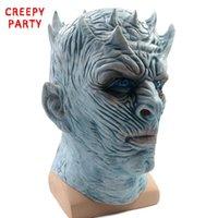 rostos zombis para halloween venda por atacado-Máscara de Halloween Rei da Noite Walker Face NOITE RE Máscara de Látex Zumbi Adultos Cosplay Trono Partido Do Traje