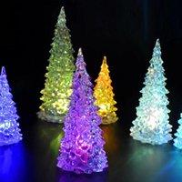 lâmpadas de árvore de fibra óptica venda por atacado-Arbol navidad Novo Colorido LED Xmas Tree Fibra Óptica Nightlight Decoração Lâmpada de Luz Mini Decorações da Árvore de Natal para casa