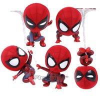 mini erkek bebeği toptan satış-Sıcak Oyuncaklar Cosbaby Marvel Örümcek Adam Homecoming Örümcek Adam S Versiyonu Mini PVC Oyuncaklar Araba Ev Dekorasyon Bebek 5 Stilleri Rakamlar