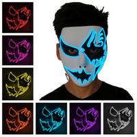 Wholesale face painting masks for men resale online - cold light skull mask hand painted LED dance Cosplay mask costume party masks street dance Halloween mask T2I5113