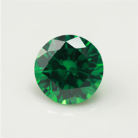 Wholesale fire gem online - 100pcs A Grade Green Color mm Cubic Zirconia Stone Round Cut Loose CZ Stone Synthetic Gems