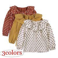 Wholesale Toddler Baby Girl Shirt Spring Autumn Long Sleeve T shirt Kids Infant Peter Pan Collar Tops Cotton Linen Girls Blouse Dot Baby Outfits