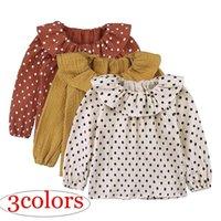 çocuklar kız peter pan yaka toptan satış-Toddler Bebek Kız Gömlek 2019 İlkbahar Sonbahar Uzun Kollu T-shirt Çocuk Bebek Peter Pan Yaka Pamuk Keten Kızlar Bluz Nokta Tops Bebek Kıyafetleri