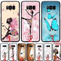 черный чехол для телефона бабочки оптовых-Бабочка танцы девушка эффект мягкий силиконовый черный ТПУ телефон чехол для Samsung A3 A5 2016 2017 A6 Plus 2018 крышка