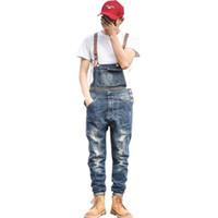 calça jeans em geral homens venda por atacado-Mcikkny Novos Homens Jeans Macacões Afligidos Moda Estilo Denim Bib Macacão Para Masculino Suspender Calças Multi-bolsos Tamanho M-2XL