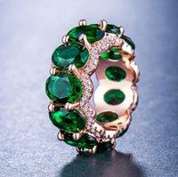 ingrosso gemme di zirconio-Anello di cristallo di zircone di lusso - gioielli di design tono oro rosa fidanzamento anelli strass colorati gemma cubica zirconia anello regalo delle donne
