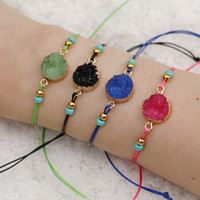 ingrosso perline lucite per la produzione di gioielli-NUOVO braccialetto di perline di pietra di resina naturale Druzy con fare una carta dei desideri Braccialetti tessuti regolabili con cordino rosso blu per uomo Donna desiderano gioielli