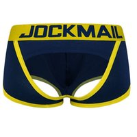 Wholesale open string man for sale - Group buy Jockmail Sexy Bottomless Boxer Men G strings Tanga Short Underpants Gay Male Underwear Open Backless Crotch C19041801