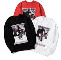 pintura al óleo blanco rojo negro al por mayor-19SS marca de lujo de la moda nueva pintura del cartel del petróleo conjunta suéter encapuchado impresión en blanco y negro rojo M-XXL