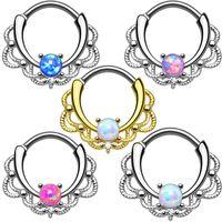 пирсинг гвоздя оптовых-Fashion 1PC Nose Rings&Studs Ear Piercing Jewelry Opal Stone Nose Nail Drop Shipping