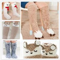 Wholesale warm socks for girls resale online - lovely animal coral fleece baby socks winter warm D elk bear unicorn monkey cartoon anti slip socks for boys girls