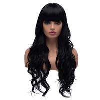 черные волнистые челки парика оптовых-Длинный волнистый синтетический парик с челкой Cospaly Party Связанные рукой парики фронта шнурка с челкой Термостойкое волокно парик волос для чернокожих женщин