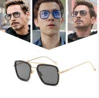 ingrosso obiettivo aviatore-Retro Occhiali da sole Aviator Piazza struttura del metallo Uomo Classic Downey Iron Man Tony Stark Gradient Lens piatto