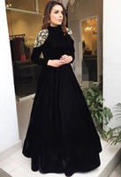 Wholesale elegant beaded prom dresses resale online - Elegant Black Long Sleeves Arabic Muslim Evening Dresses Gold Lace Applique A Line Floor Length Formal Party Prom Gown