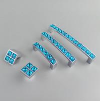 işık düğmeleri toptan satış-Kristal Cam Serisi Elmas Açık Mavi Mobilya Kolu Kapı Kolları Dresser Çekmece Dolap Mutfak Dolapları Dolap Dresser Çekin Kapı Topuzu