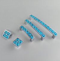 armário de cozinha azul puxa venda por atacado-Série de Vidro de cristal Diamante Azul Móveis Maçaneta Maçaneta Puxadores Gaveta Armários de Cozinha Armário Dresser Pull Door Knob