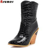 тисненый чехол оптовых-ASUMER Plus размер 34-43 Новые женские тисненые западные ботинки толстые на высоком каблуке осень-зима модные женские ботильоны