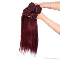 iyi örgü toptan satış-Büyük Promosyon 4 Demetleri / lot Renk Bordo Düz Malezya Saç Uzantıları 99J Kırmızı Şarap Düz İnsan Saç Dokuma Iyi fırsatlar, Ücretsiz DHL