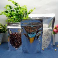 ingrosso borse ziplock richiudibili-9x14cm - 18x26cm, 200 x Reclosable Stand up zip in alluminio traslucido, chiusura frontale trasparente argentato in plastica