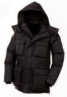 erkekler için uzun askeri katlar toptan satış-2020 Kanada Kış Coat Erkekler WINDBREAKER Kapşonlu Kalınlaşmak Ceket Erkek Streetwear Hiphop Askeri Hendek Coats Uzun Parka jaqueta masculina