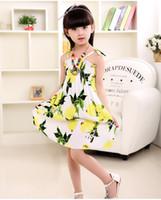 colar de limão venda por atacado-Verão vestido de menina roupas de bebê estilo chinês boêmio vestido de praia de algodão sling vestidos com colar de roupas de moda meninas