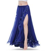 königsblauer bauchtanzrock großhandel-Royal Blue Bauchtanz Röcke Oriental Double High Slits Bauchtanz Kostüm Rock für Frauen Rock (ohne Gürtel)