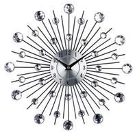 relógios de decoração em metal venda por atacado-Relógio de Parede de Arte de metal Do Vintage de Luxo Diamante Grande Relógio de Parede Orologio Da Parete Relógio Morden Design Home Decor Wandklok