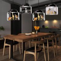 animaux de verre modernes achat en gros de-Loft Moderne Pendentif Lumières Style De Fer Verre Droplight Moderne LED Luminaires Salle À Manger Modèles Animaux Suspension Lampe Éclairage Intérieur