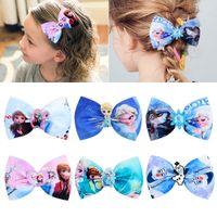 Wholesale princess designs resale online - 6 Design quot hair Bow girl Frozen Princess Barrettes Girl Hair Accessories kids party hair clipper