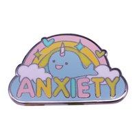 arco-íris venda por atacado-Rainbow narwhal ansiedade esmalte pino broche de saúde mental auto cuidado consciência introvertida jóias