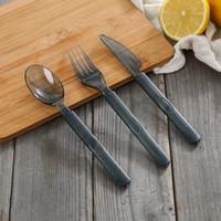 facas descartáveis venda por atacado-3pcs / set transparente Disposable Tableware Set Ocidental - estilo talheres descartáveis Transparente faca de plástico Fork Colher Set RRA2750