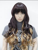 ingrosso parrucca blonde black mix-Parrucca da donna WIG Purple-black + Blonde Mixed Long Wavy Daily