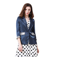 moda blazer menina venda por atacado-Mulheres Moda Blazer Egeu Azul Brilhante Casaco De Seda Primavera Outono Inverno Bougie Menina Único Botão Magro Blazer Casacos de Manga Longa