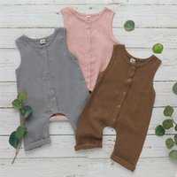 Wholesale french terry jumpsuit for sale - Group buy INS New Summer Toddler Baby Boys Overalls Rompers INS Linen Cotton Round Collar Sleeveless Blank Jumpsuit Kids Bodysuit Baby Romper M