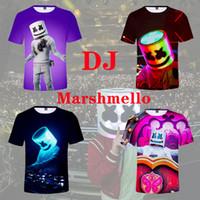 Wholesale fashion cartoon girls t shirt for sale - Group buy 13 styles DJ marshmello T shirt Short Sleeves music Tee Shirt Tops round Neck cartoon d printed T shirt home casual clothes FFA1703
