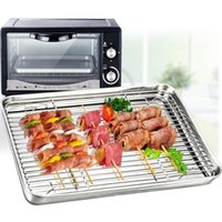 Wholesale oven plates resale online - Toaster Oven Tray Barbecue Cooking Cooling Rack Set Grill Pans Stainless Steel Oil Drain Mesh Plate Baking Cooling