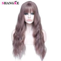 """pelo burdeos naranja al por mayor-26 """"Mezcla larga pelucas para mujer de color púrpura con flequillo pelucas rizadas sintéticas resistentes al calor para las mujeres afroamericanas"""