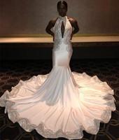 ingrosso laurea bianca nera-2019 Bianco Lungo Nero Ragazze Prom Dress Sirena Appliques Formale Pageant Holidays Wear Laurea Abiti Da Sera Party Custom Made Plus Size