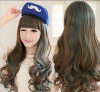 ingrosso capelli lunghi cosplay ragazza anime-Parrucca nuova anime capelli lunghi ondulati ragazza lolita costume cosplay parrucche misti BlueBrownig