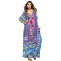 f99ea141bd31c 2018 Ladies\' Print Beach Sundress Sexy V-neck Bohemian Long Dress African  Ethnic Summer Loose Vintage Kaftan Maxi Dresses C19041101